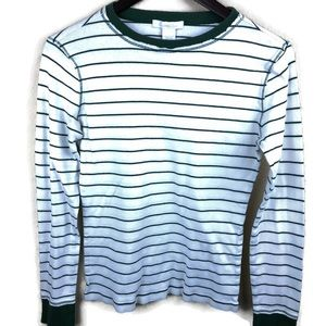 Charlotte Russe Womens Henley, White Green Large